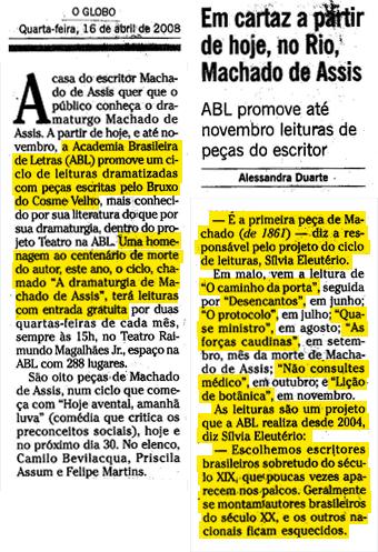 Em cartaz a partir de hoje, no Rio, Machado de Assis